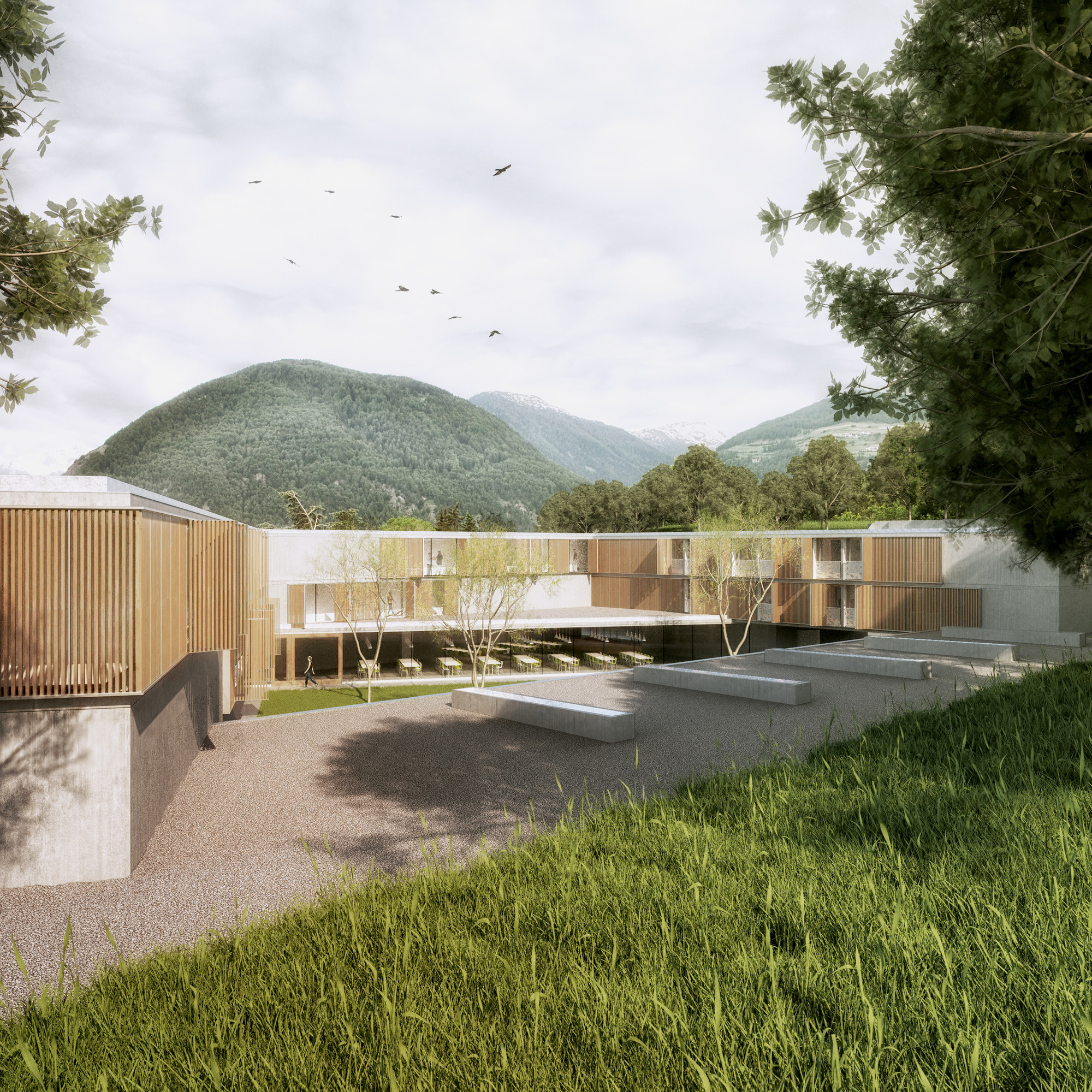AM3's Prize-Winning Boarding School to Open Onto Mount Stelvio in Malles, © UpLab; Courtesy of AM3 Architetti Associati