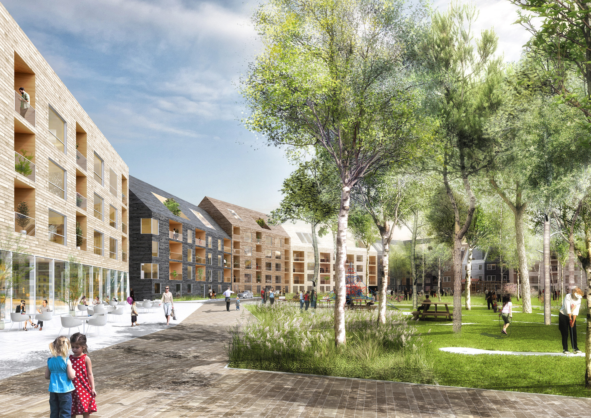 "K + S Selected to Design New ""Skärvet"" Neighborhood in Växjö, Park . Image © K + S"