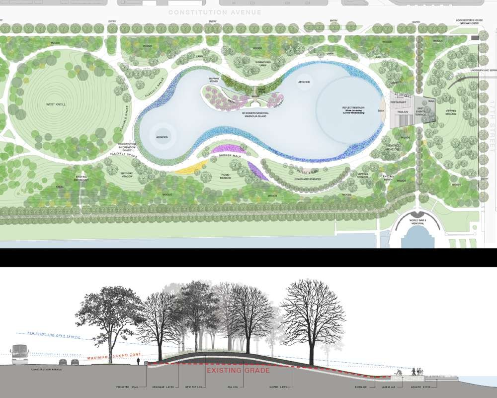 Plan and Section. Image © PWP Landscape Architecture and Rogers Partners