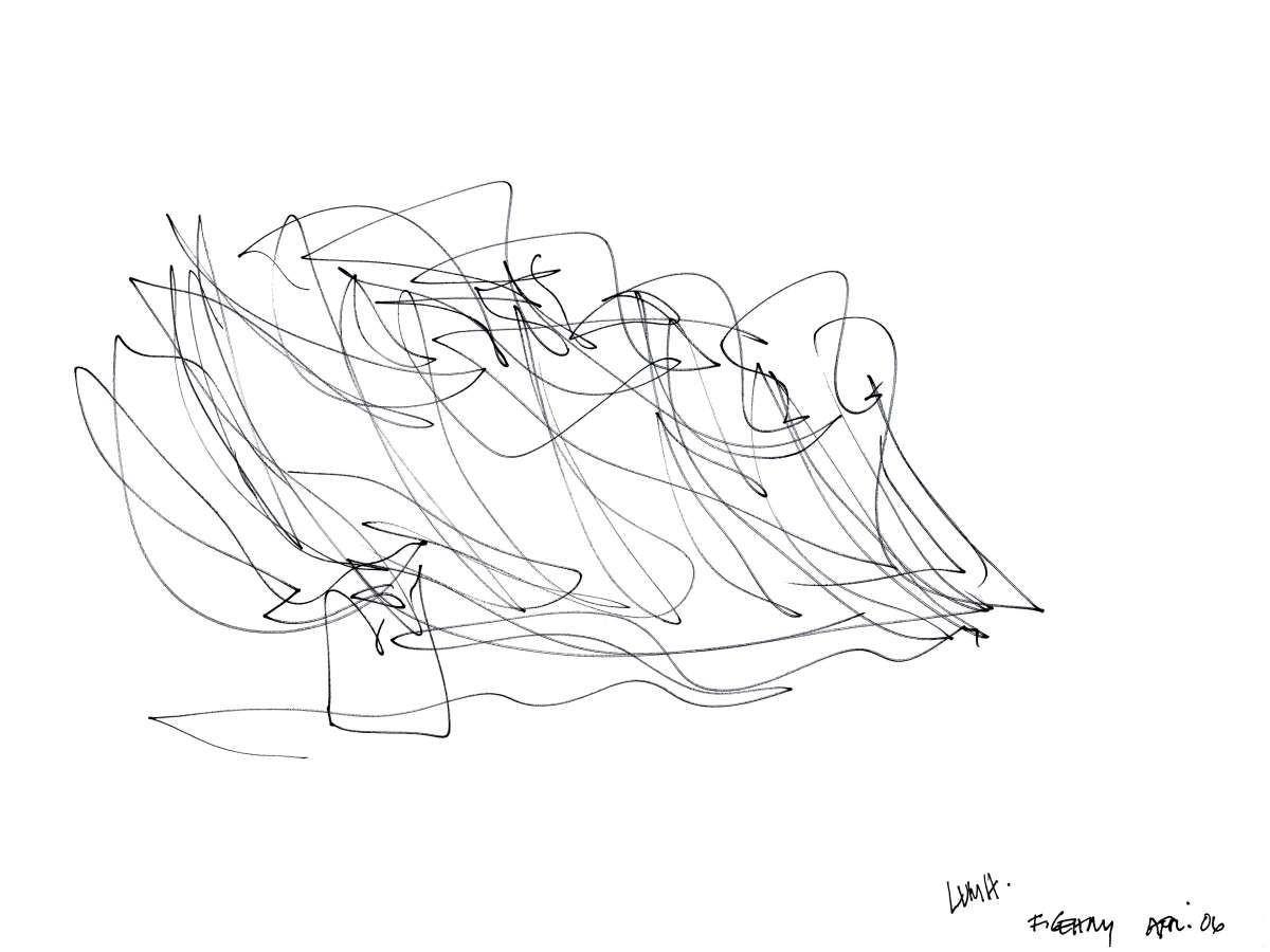 Esquema conceptual de Gehry. Imagen © Gehry Partners, LLP / Frank O. Gehry
