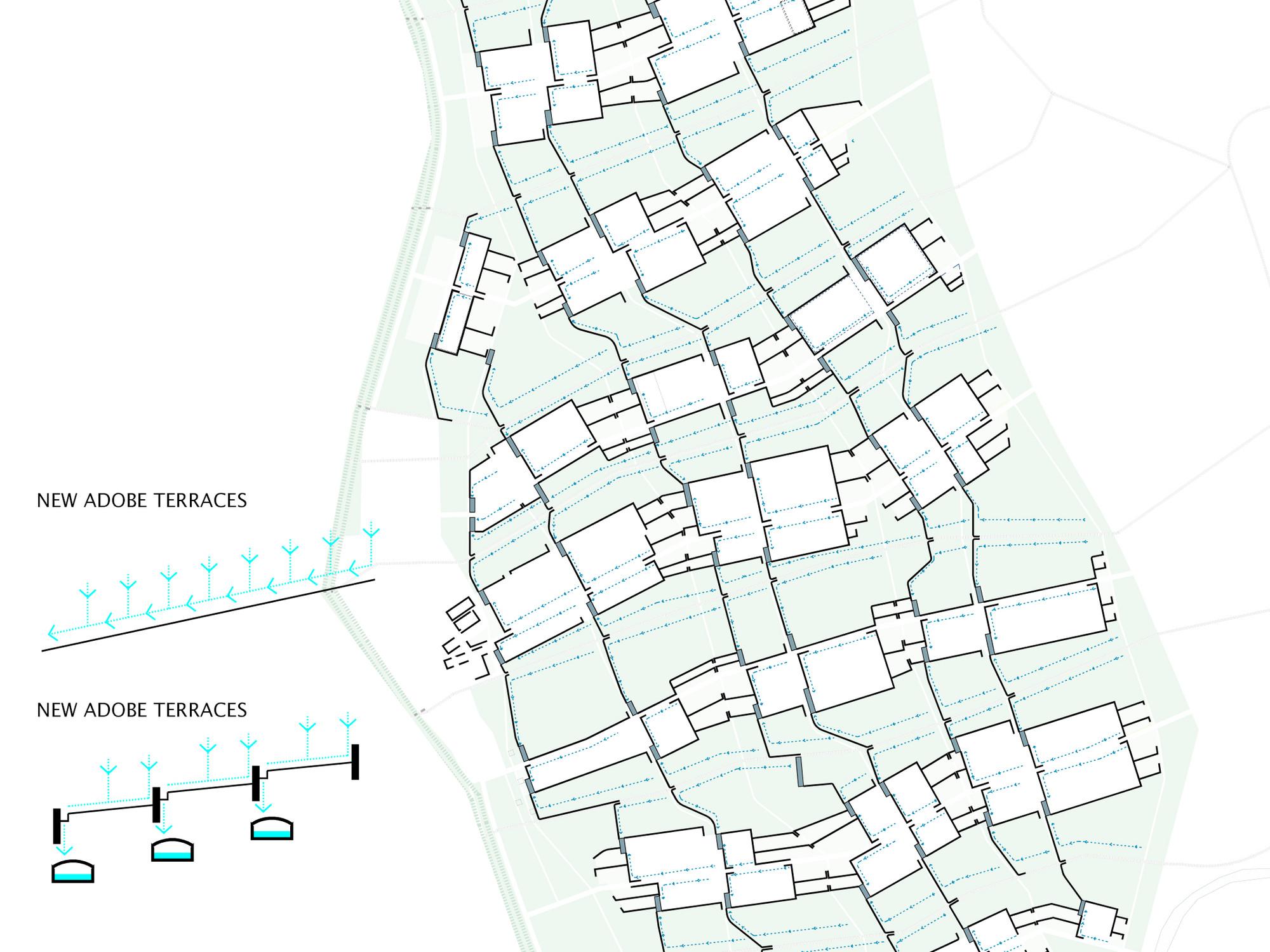 Detalle del plan: Infraestructura de recolección de aguas lluvias. Image Cortesia de DAT Pangea