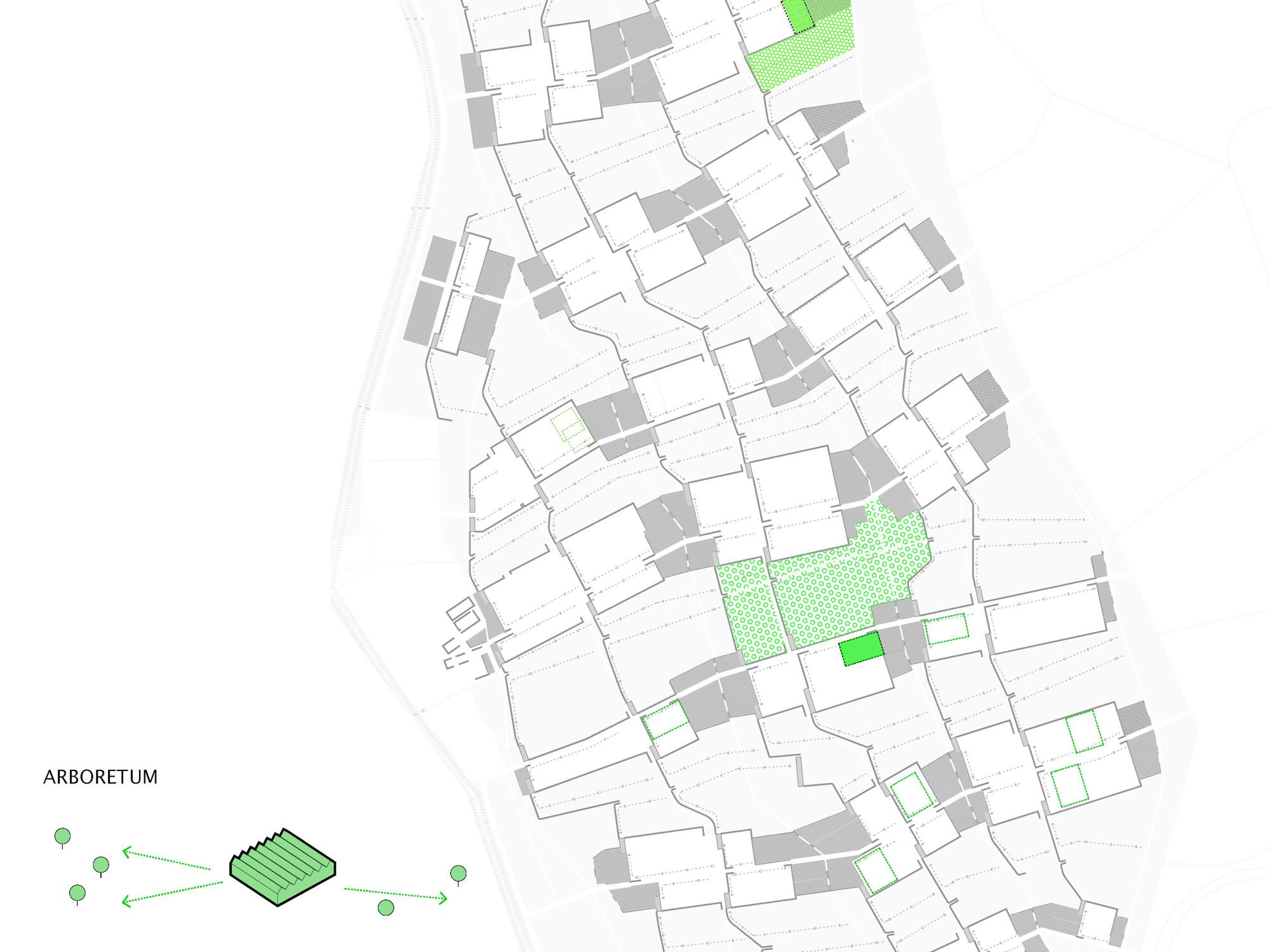 Detalle del plan: invernaderos para restauración ecológica. Image Cortesia de DAT Pangea