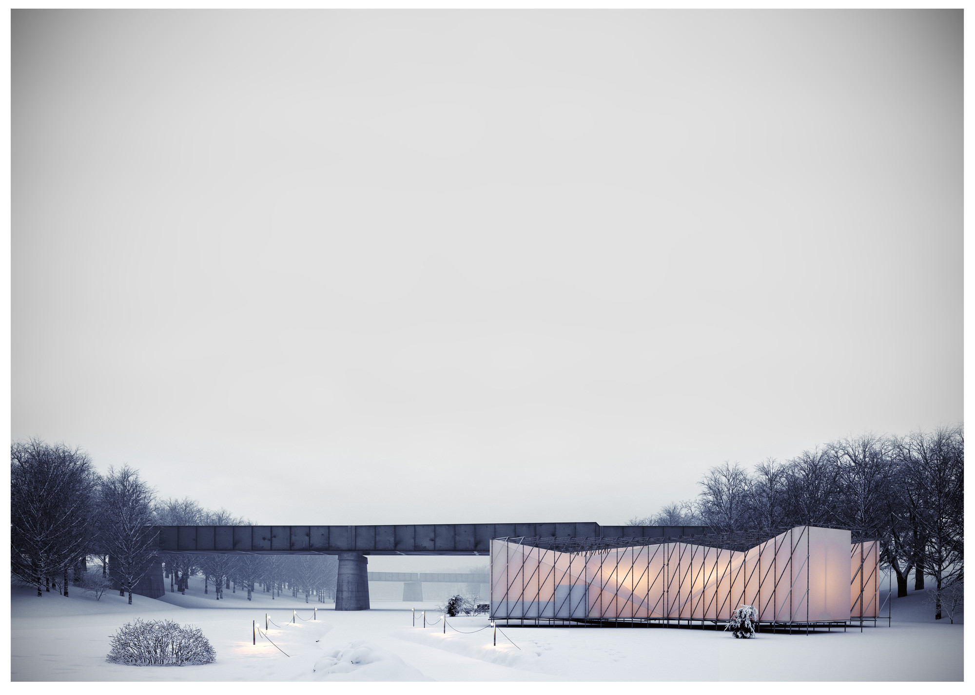 OS31 Designs Pop-Up Restaurant on a Frozen River , Courtesy of OS31