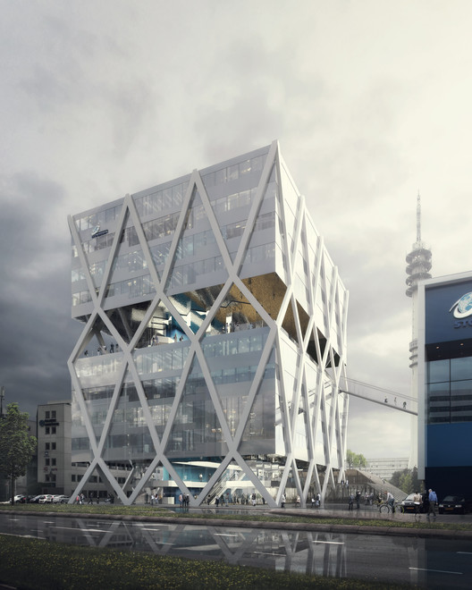 Competition Entry: JHK Architecten + Broekbakema's Proposal for Rotterdam School of Transport, © WAX