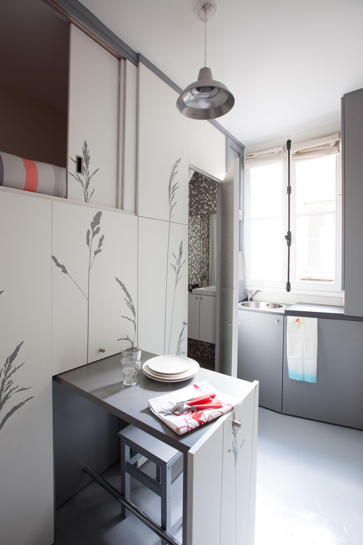 gallery of tiny apartment in paris kitoko studio 2. Black Bedroom Furniture Sets. Home Design Ideas