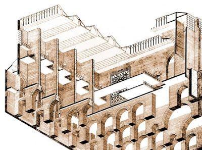 Corte en axonométrica. Imagen cortesía del arquitecto