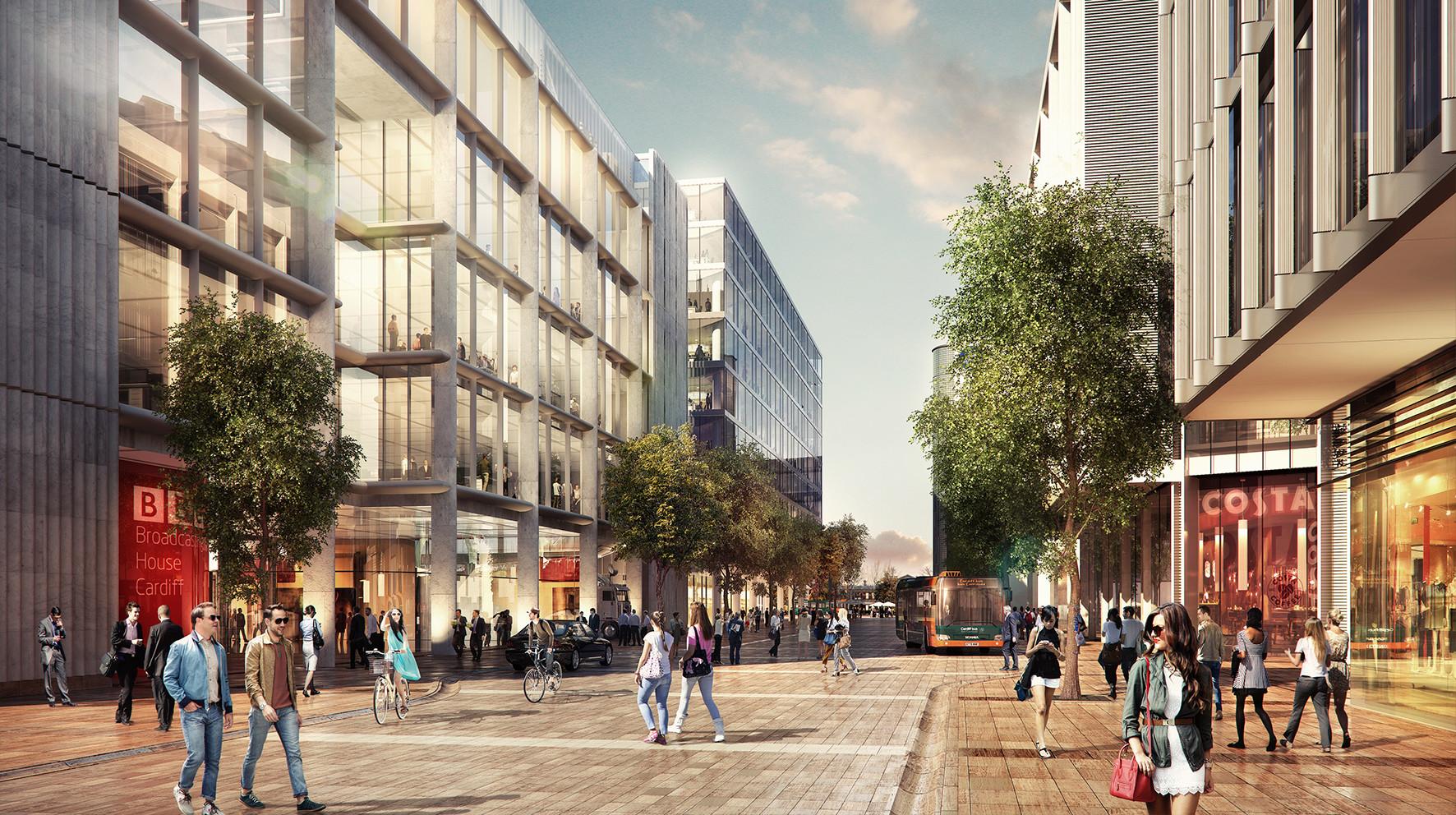 Calle Wood. Imágen cortesía del Ayuntamiento de Cardiff