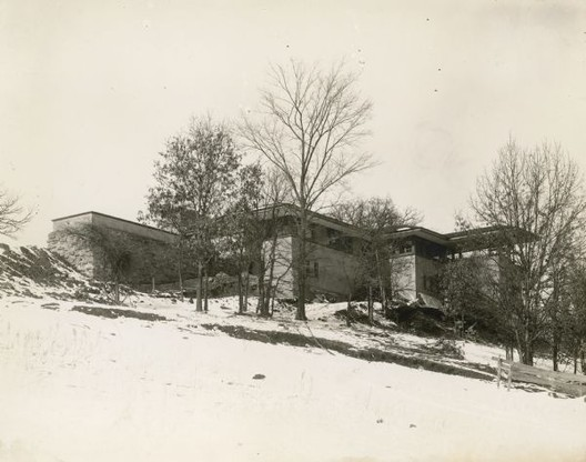 The earliest known photograph of Frank Lloyd Wright's Taliesin House, taken during construction in the winter of 1911. Image © Wisconsin Historical Society via Wikipedia