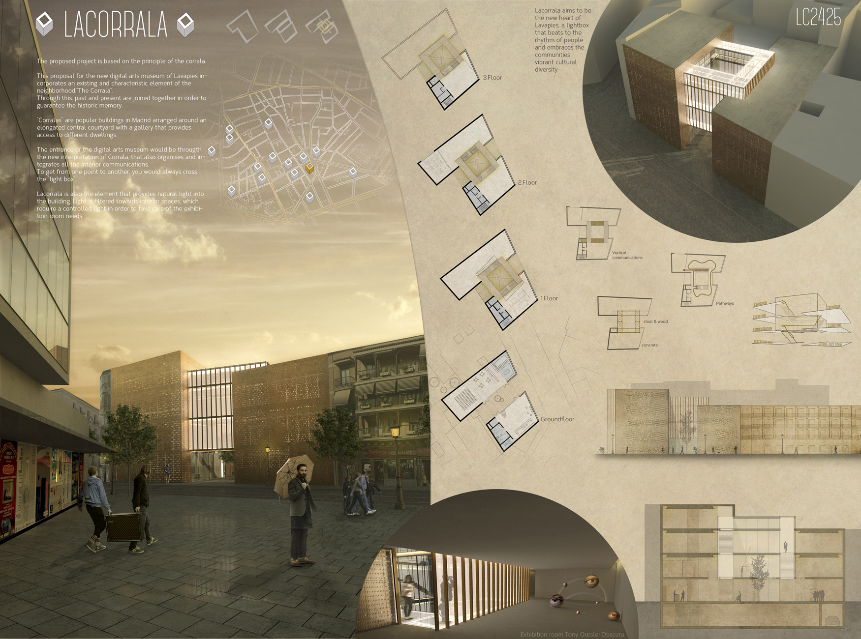Second Prize: LACORRALA / Arch. Vicente Hernandez Vaquero, Silvia Rodriguez Iglesias (Coruña, Spain). Image Courtesy of Ctrl+Space Architectural Competitions