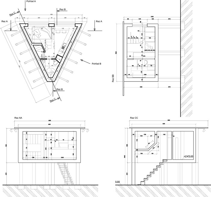 Plan with sections