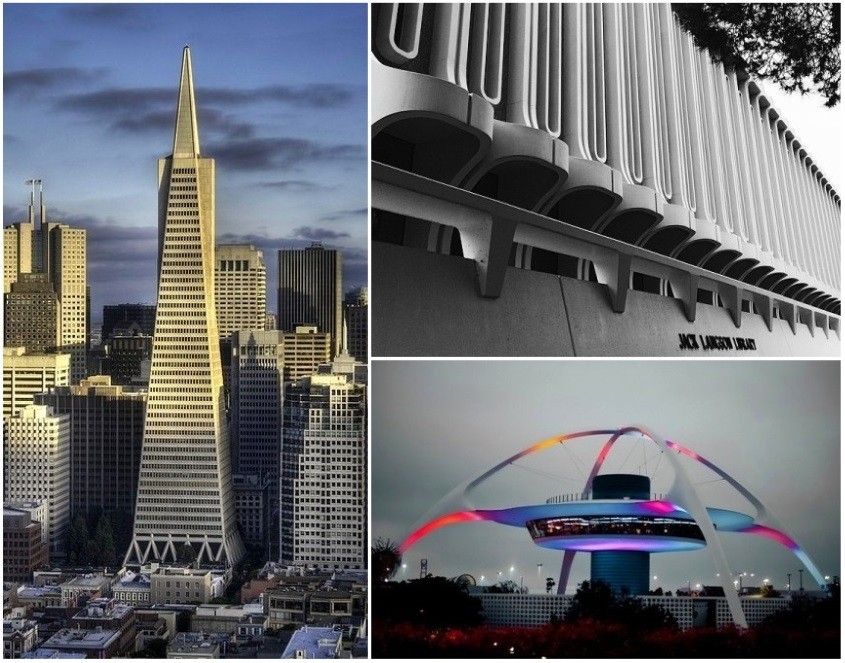 Clockwise from left: Pereira's Transamerica Pyramid, Langson Library at UC Irvine, and Theme Building at LAX. Image © Flickr users SnaPsi, UC Irvine, and Thomas Hawk