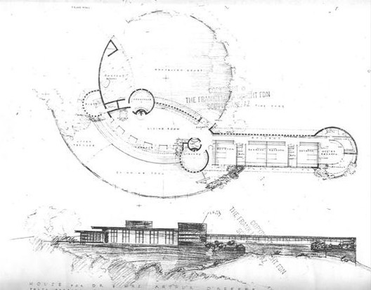 The design produced by Frank Lloyd Wright for Dr and Mrs O'Keefe. Image © The Frank Lloyd Wright Foundation via www.savewright.org