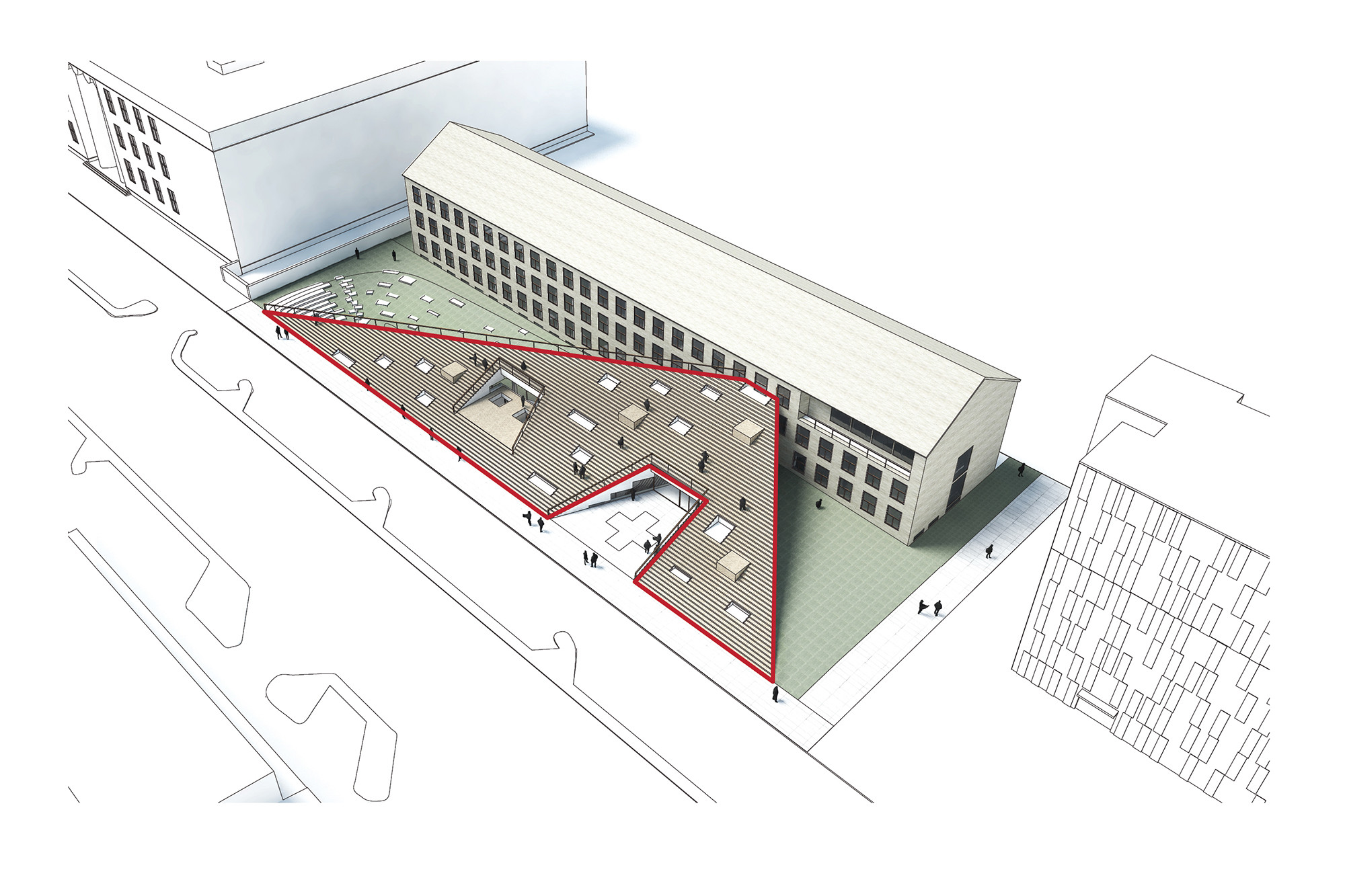 Gallery of cobe unveils design for danish red cross for Triangle concept architecture