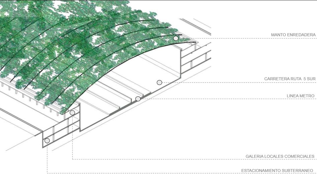 Anteproyecto Refundación Autopista Norte-Sur, Versión 2013 / Esquema Isométrica. Image Cortesia de Boza + Boza Arquitectos