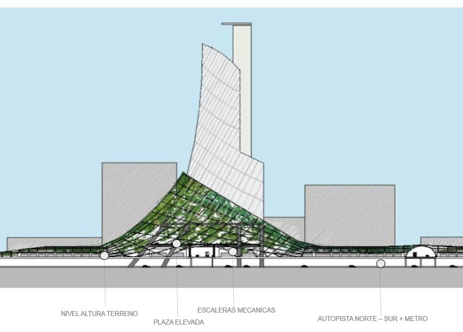 Anteproyecto Refundación Autopista Norte-Sur, Versión 2013 / Elevación General Torre Tipo. Image Cortesia de Boza + Boza Arquitectos