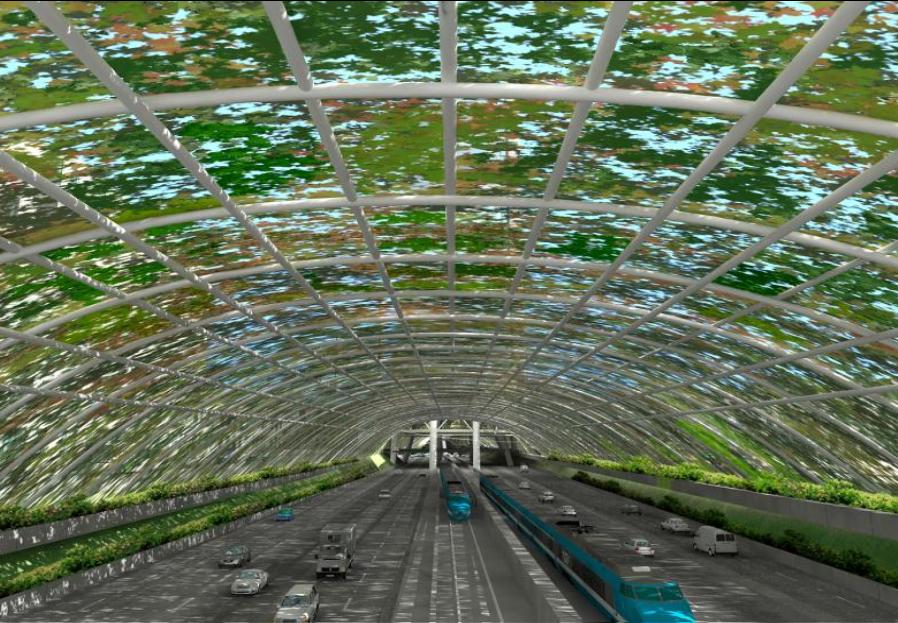 Anteproyecto Refundación Autopista Norte-Sur, Versión 2013 / Imagen Interior Autopista. Image Cortesia de Boza + Boza Arquitectos