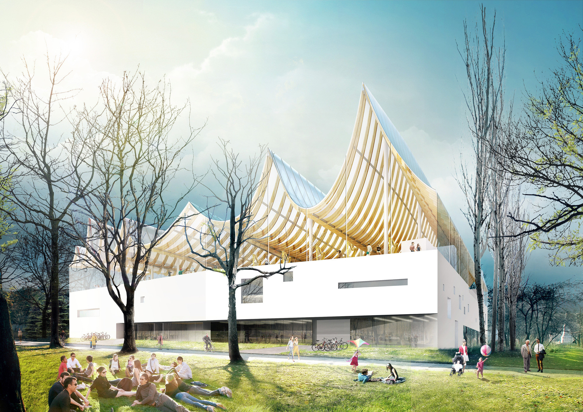 SANAA and Jean Nouvel Among Seven Invited to Design Hungarian Museum Complex , Liget Budapest Competition Entry (click for more). Image © Fundamental