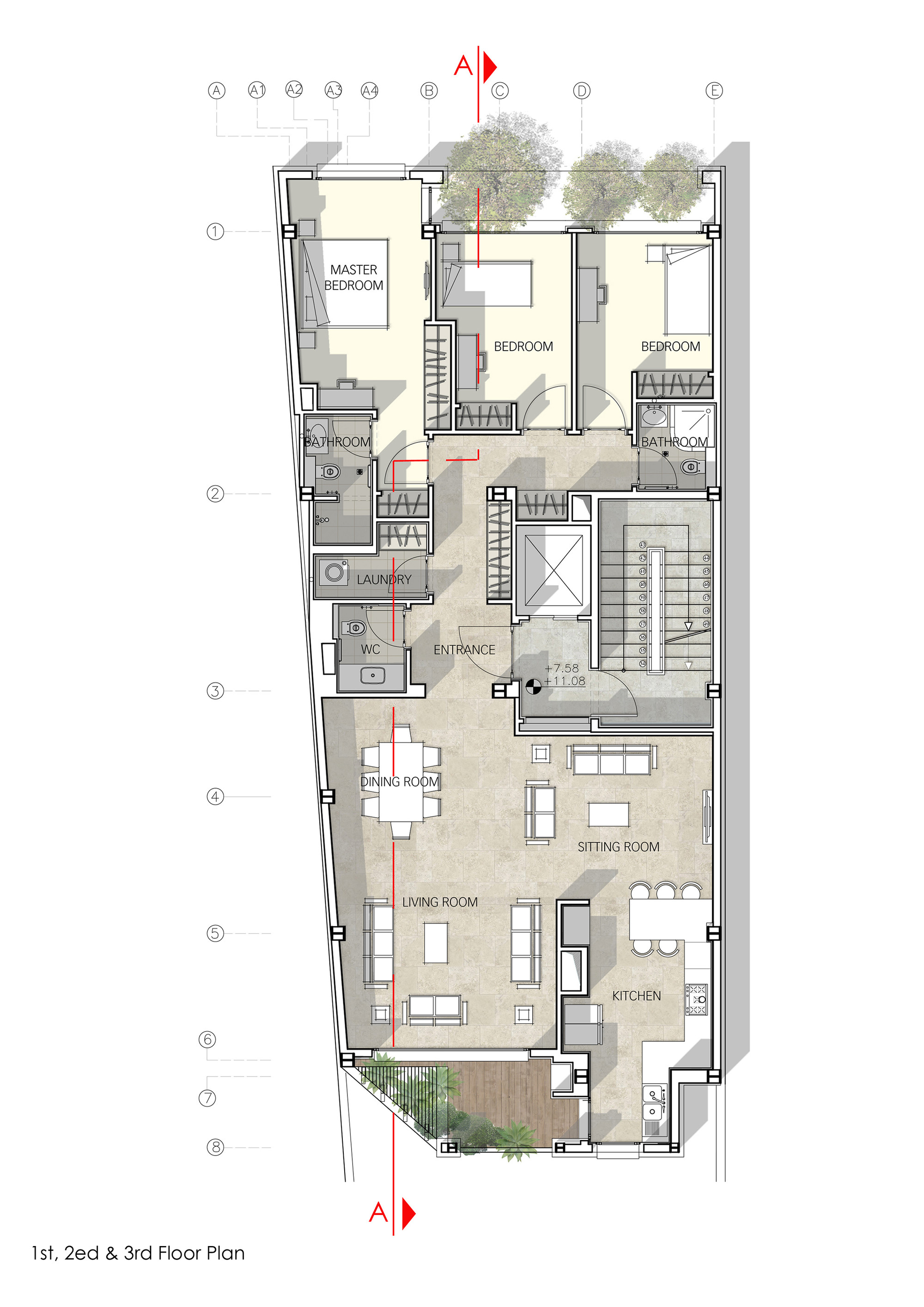 Gallery of haghighi residential building boozhgan for Plan of a residential building drawings