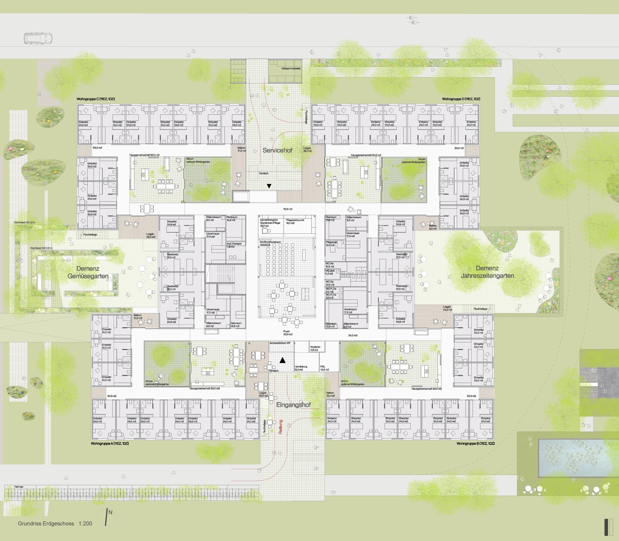 Green house nursing home floor plan for Green building plans