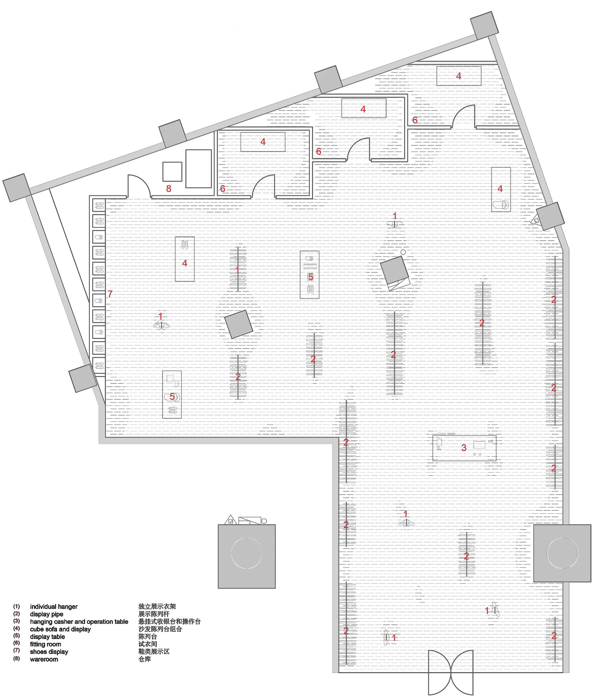 Gallery of snd fashion store 3gatti 15 for Clothing store floor plan layout