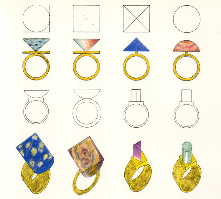 Jewelry designed by Hans Hollein. Image © Rizzoli New York Courtesy of Sight Unseen