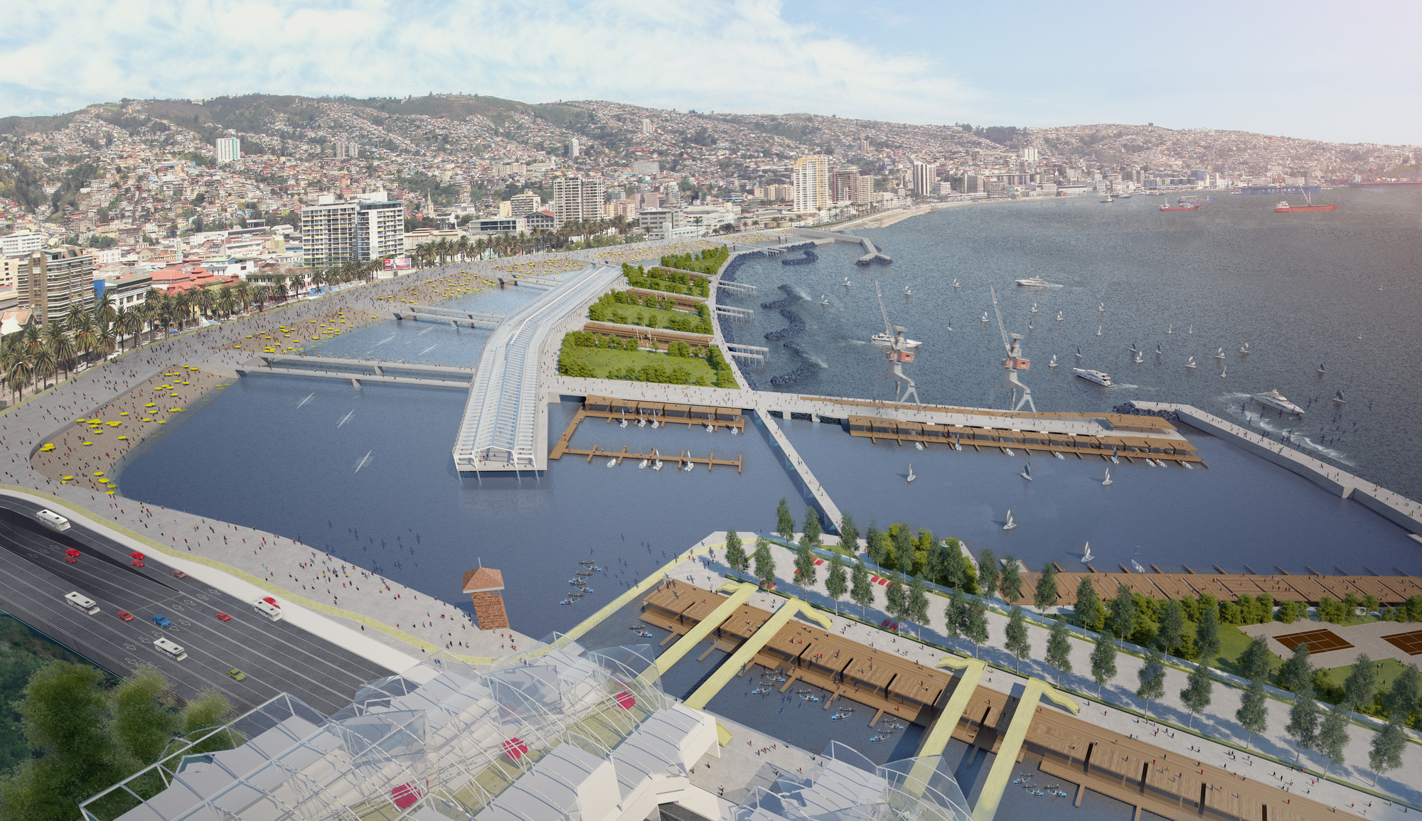 Video: Boris Ivelic explica contrapropuesta a mega centro comercial en Valparaíso, Anteproyecto Parque de Mar Puerto Barón. Image Cortesia de Boris Ivelic, Edison Segura y Pablo Vásquez