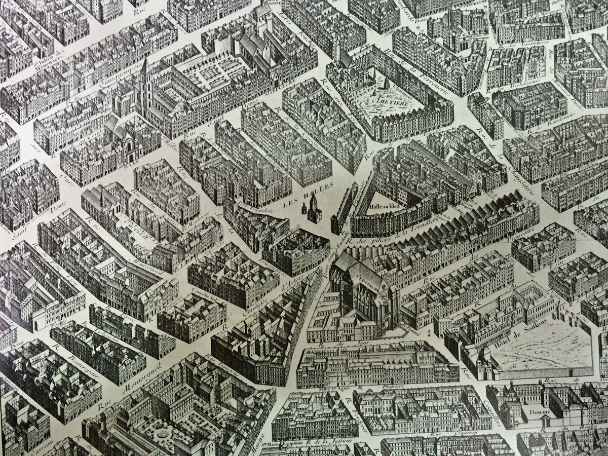 Detalle del Plan Turgot de 1738 que muestra Les Halles