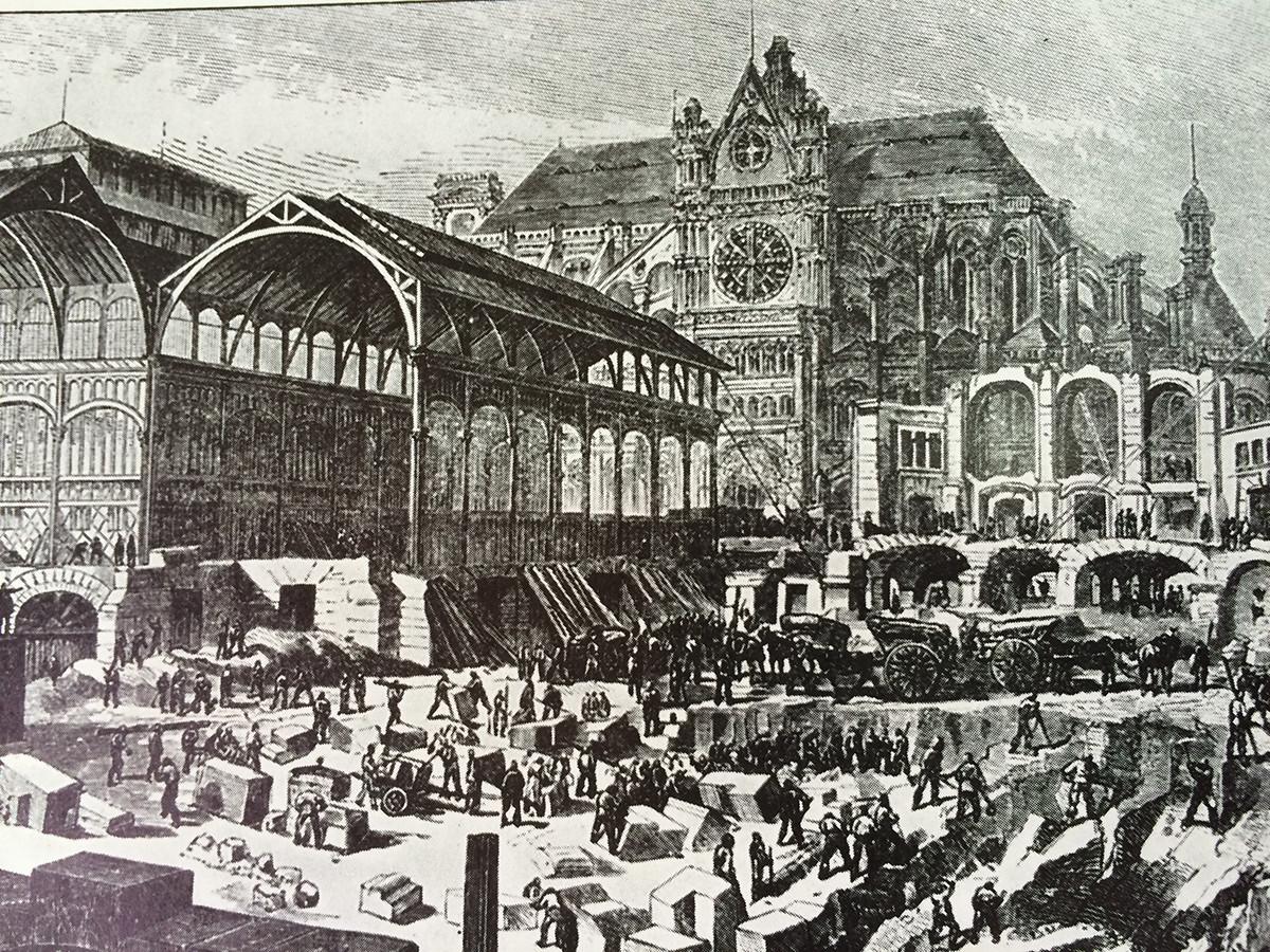 Extensión del mercado de Les Halles en el s XIX