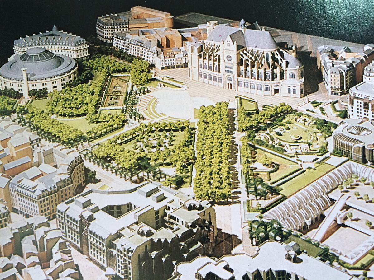 Maqueta de 1981 que muestra el proyecto anterior al del Plan Maestro de Seura
