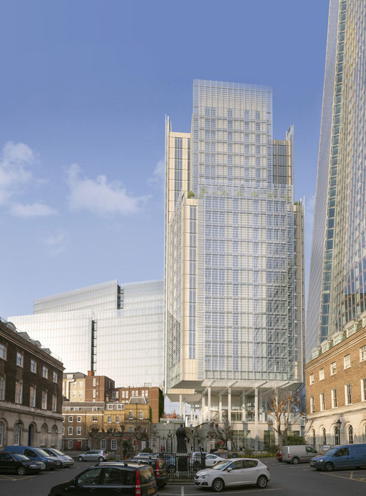Renzo Piano Gains Planning Permission for Shard-Adjacent Residential Tower, View from Guy's Hospital Quad. Image Courtesy of RPBW
