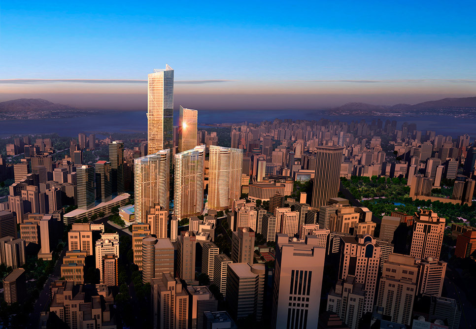 Eton Place Dalian Tower 1 in Dalian, China — 1,257 feet. Image © NBBJ