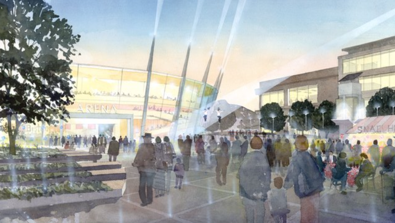 Five Teams Shortlisted To Design Bristol Arena, Vision of the masterplan (commissioned in 2007). Image Courtesy of Bristol Temple Quarter