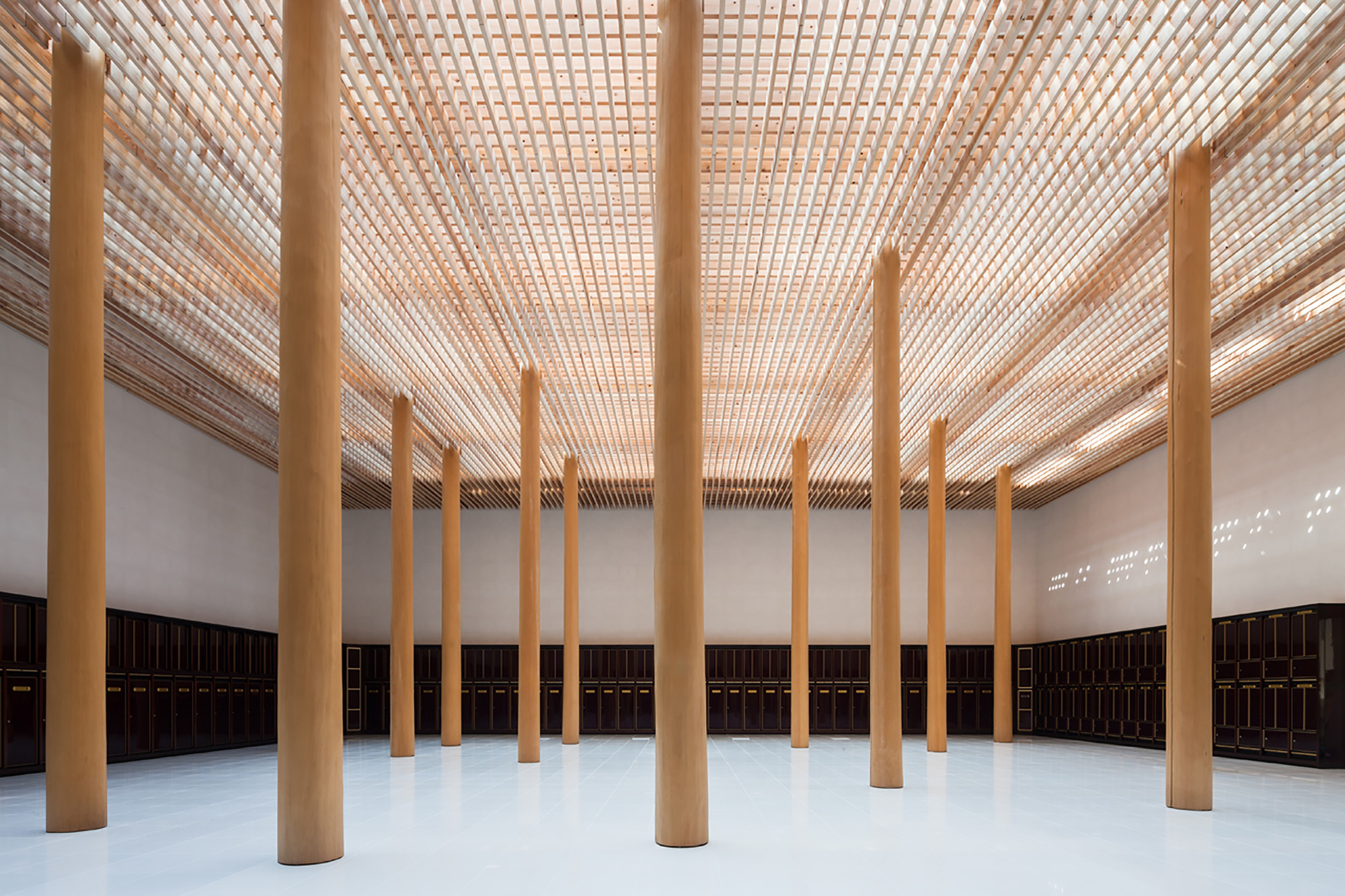 Myoenji columbarium furumori koichi architectural design for Architectural wood columns