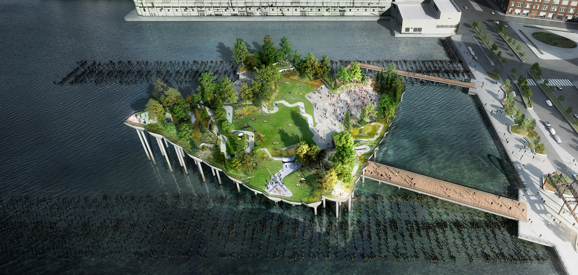 Pier 55. Image © Pier55, Inc. and Heatherwick Studio, Renders by Luxigon