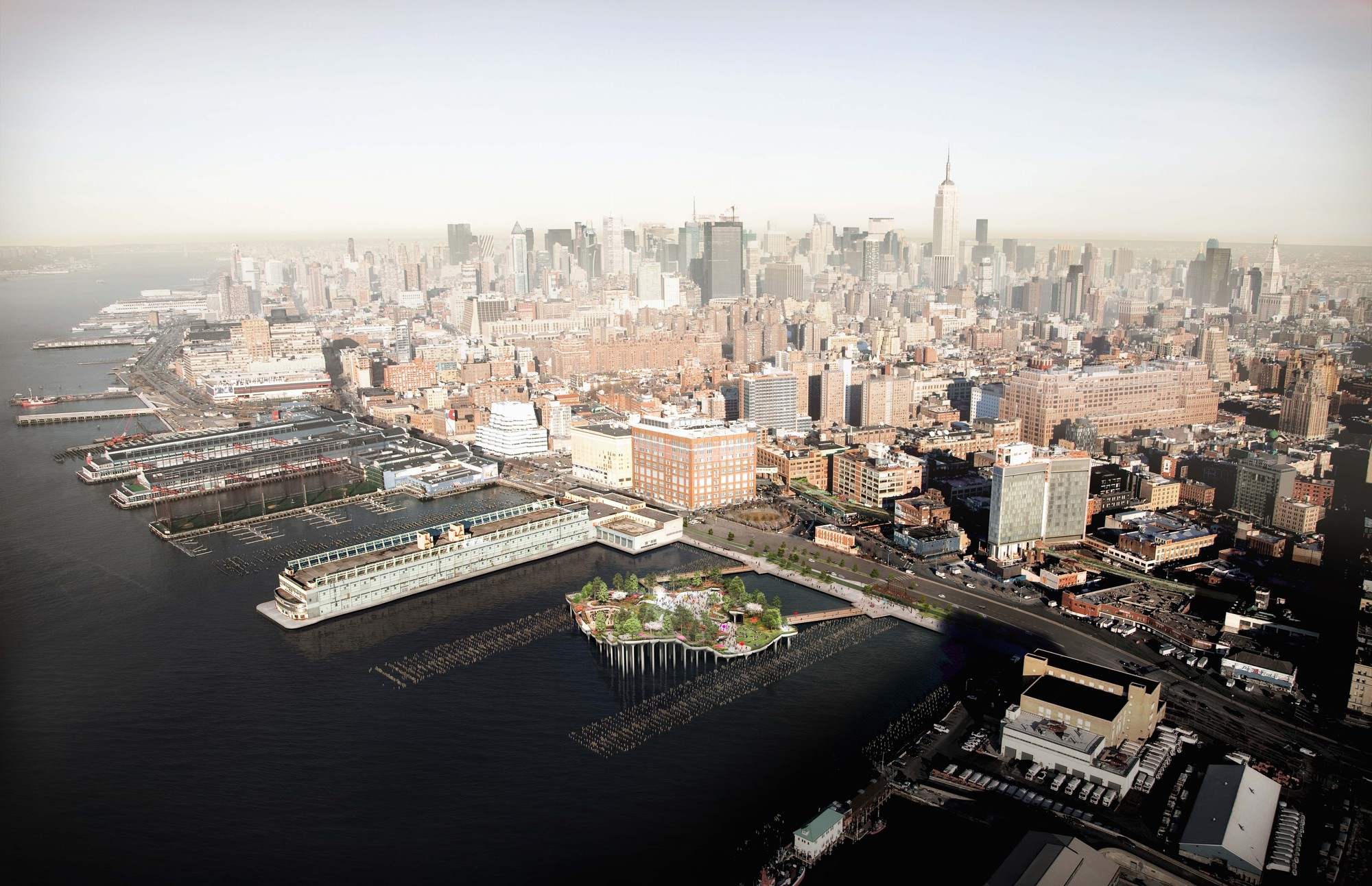 Pier 55 in context of the west side. Image © Pier55, Inc. and Heatherwick Studio, Renders by Luxigon