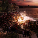 Amphitheater looking southwest at the sunset. Image © Pier55, Inc. and Heatherwick Studio, Renders by Luxigon
