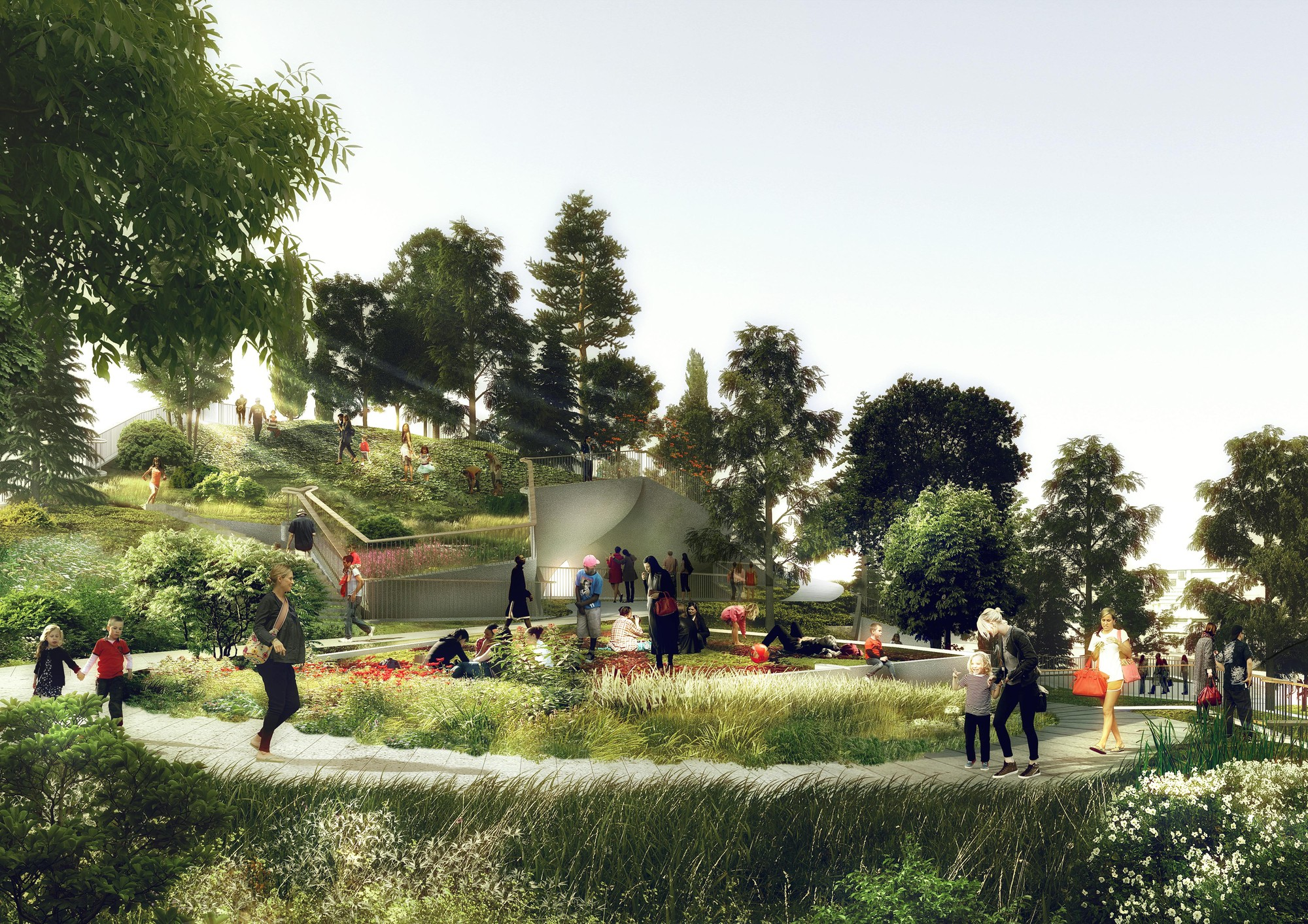 Conceptual view of Pier 55's rolling landscape. Image © Pier55, Inc. and Heatherwick Studio, Renders by Luxigon