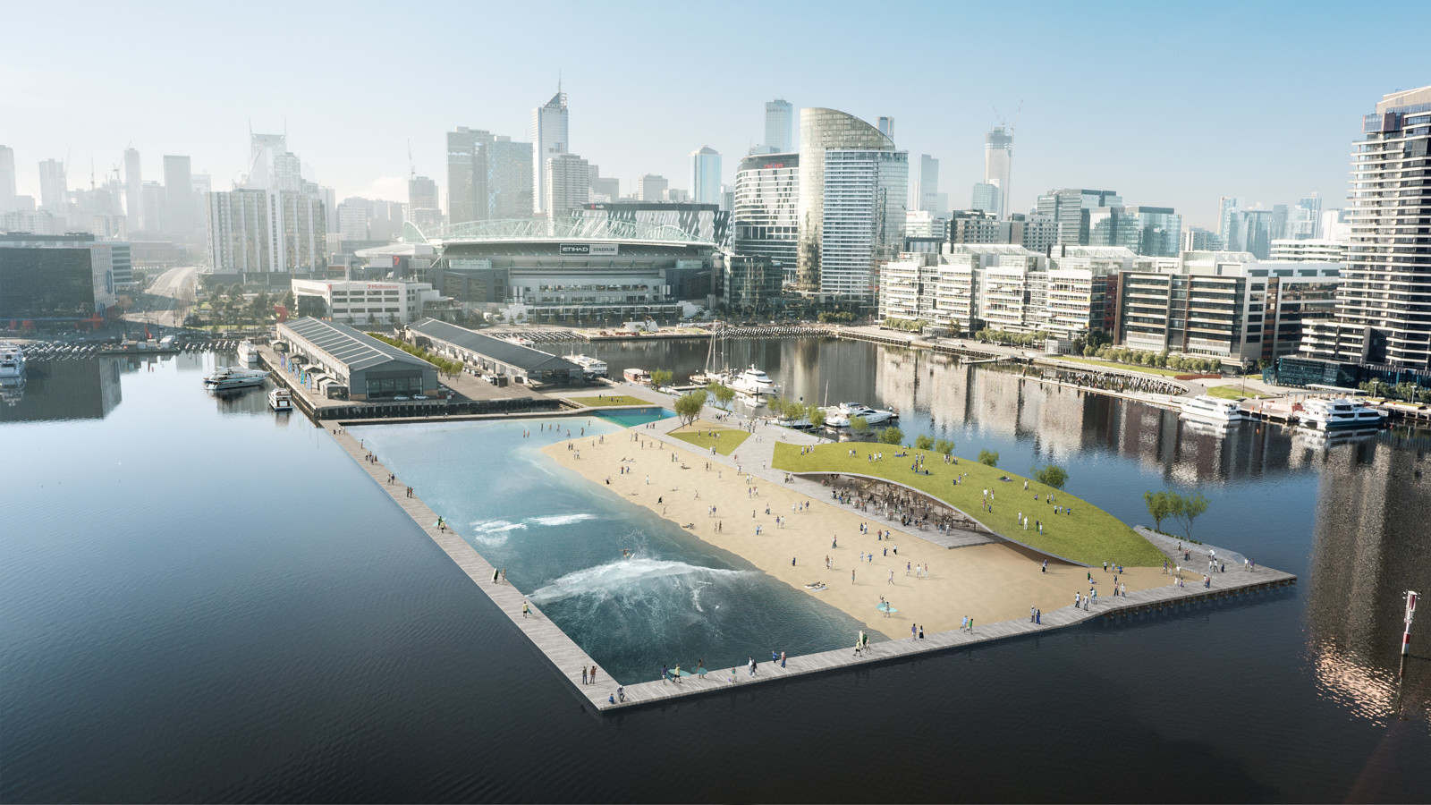 Damian Rogers Proposes Surf Park for Melbourne's Docklands, © Damian Rogers Architecture, Arup and Squint/Opera