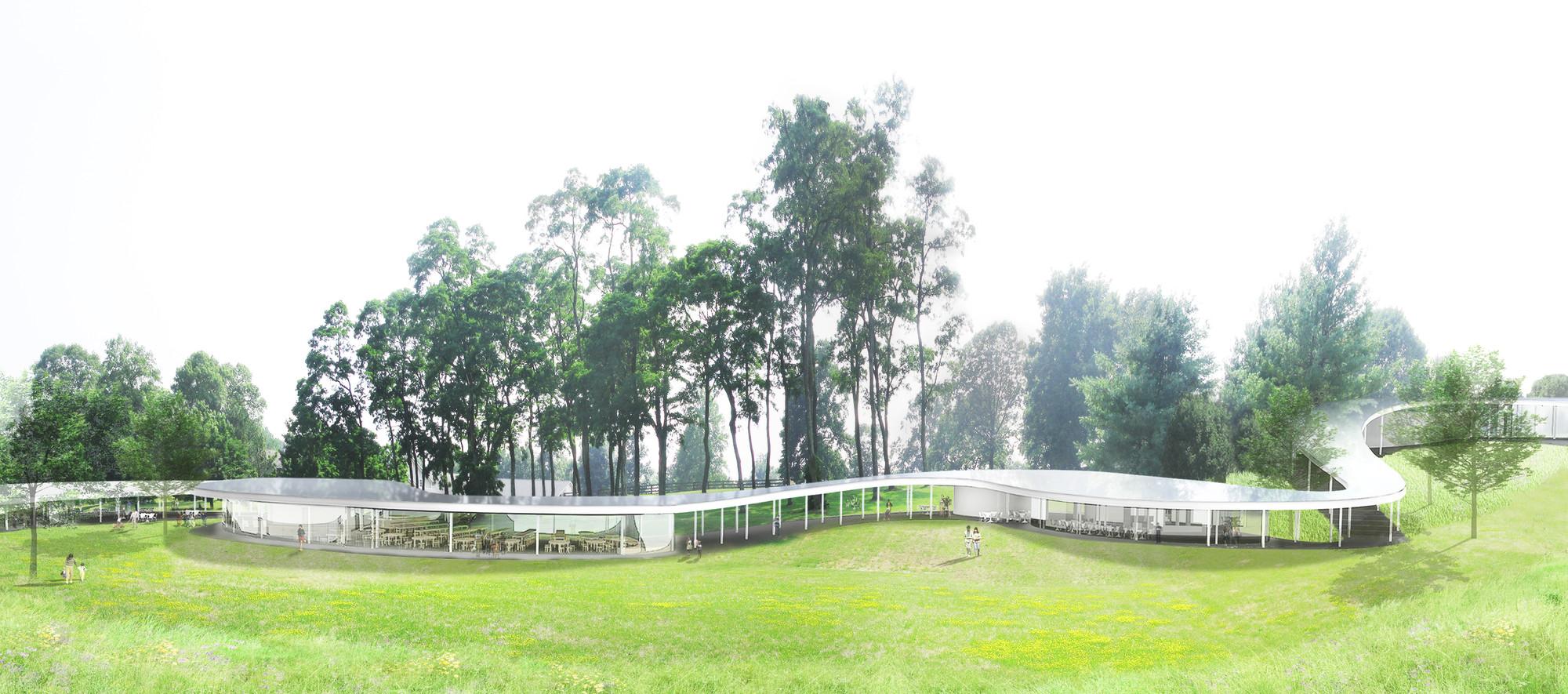 """En construcción: """"El Río"""" primera contratación de SANAA en los Estados Unidos desde que ganó el Pritzker Prize en el 2010, Vista exterior de El Río. Imagen Cortesía de Grace Farms y SANAA"""