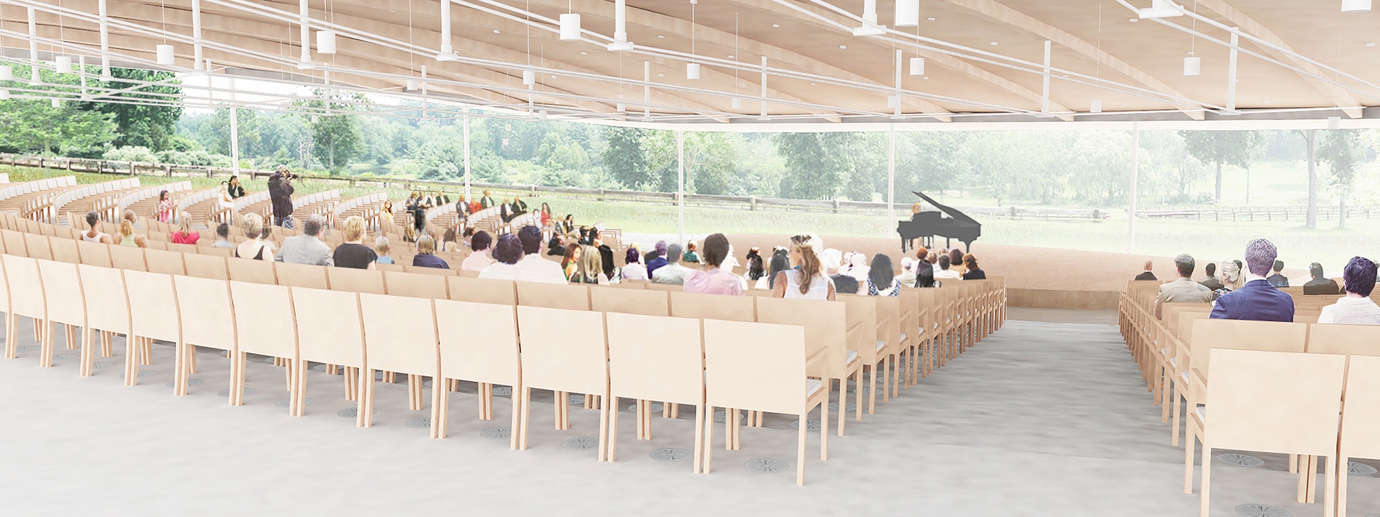 Interior view of the sanctuary/ indoor amphitheater. Image Courtesy of Grace Farms and SANAA