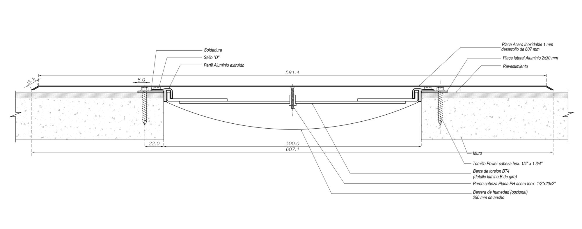 Cubrejunta Muro Acero Sobrepuesta (CMACS) / Sysprotec