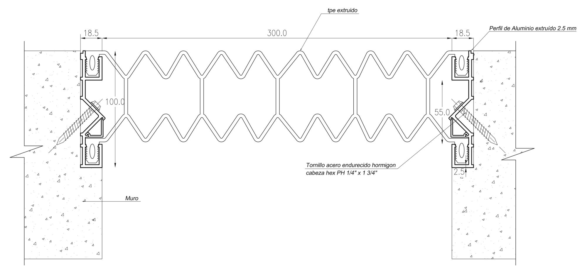 Cubrejunta Muro a Ras Exterior Aluminio Santopreno (CMRE AS) / Sysprotec