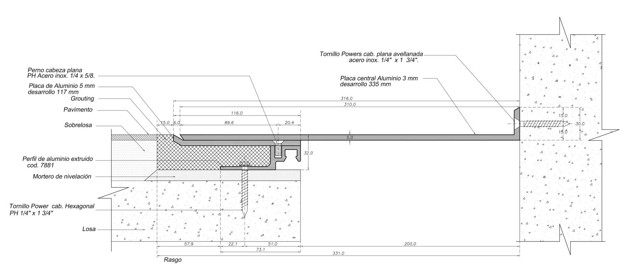 Cubrejunta Piso a Ras Interior Aluminio (CPRIA M) / Sysprotec