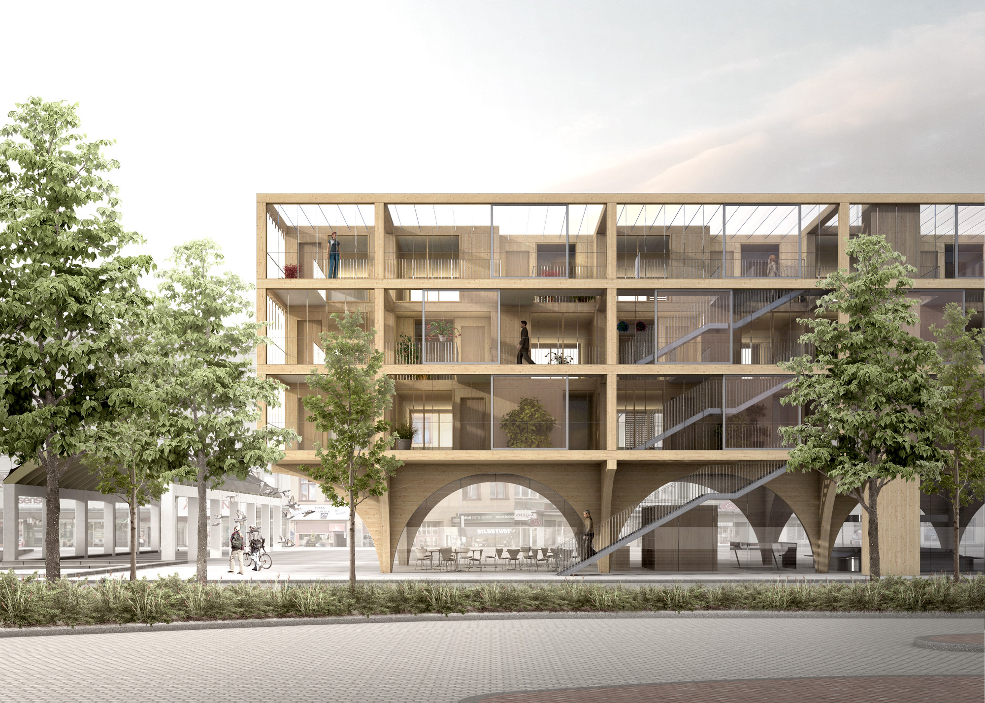 JAJA Wins Second Prize for Swedish Housing and Market Hall Hybrid, Mainstreet . Image © JAJA Architects