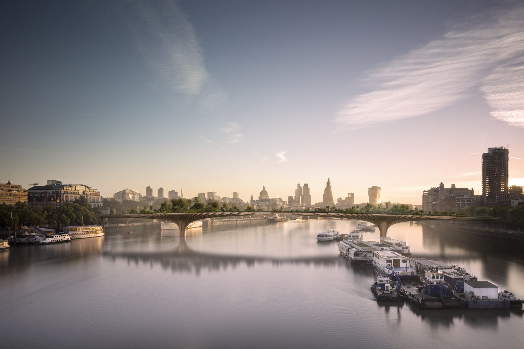 """Is Heatherwick's Garden Bridge """"Nothing But A Wasteful Blight""""?, Courtesy of Arup"""