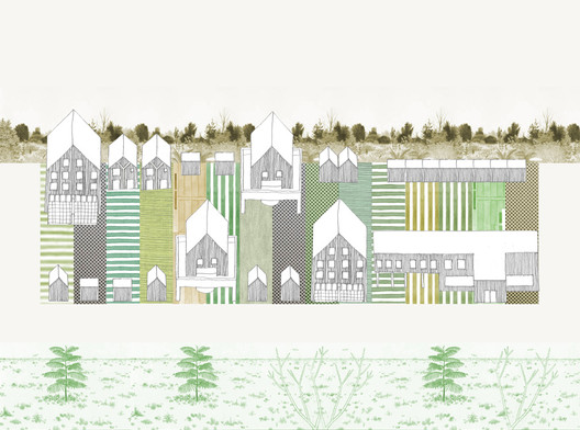 Eco Ruburb, a community hybrid of the rural and the urban (with Hawkins\Brown). Image © Sam Jacob Studio