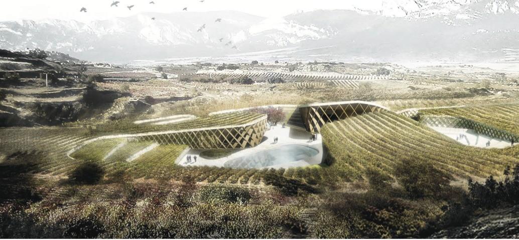 "Primer lugar en ""concurso Landscape, Architecture & Wine"". Image Cortesia de Javier Ureña Carazo e Isabel Rivas"