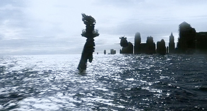La película A.I de Spielberg/Kubrick, ofrece una vista de la ciudad de Nueva York bajo el mar, con la antorcha de la estatua de la libertad asomándose sobre el agua
