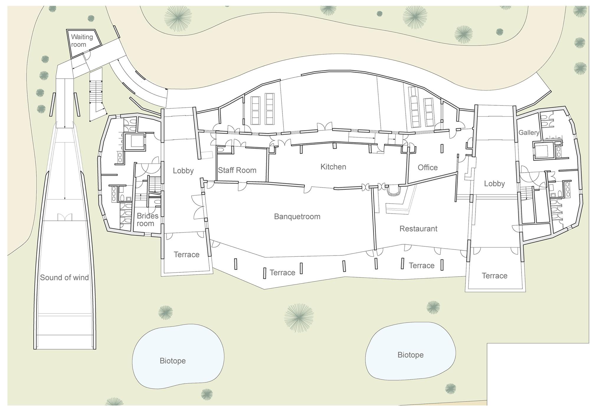 ecotone hotel in biwako sound of wind ryuichi ashizawa hotel ground floor plan
