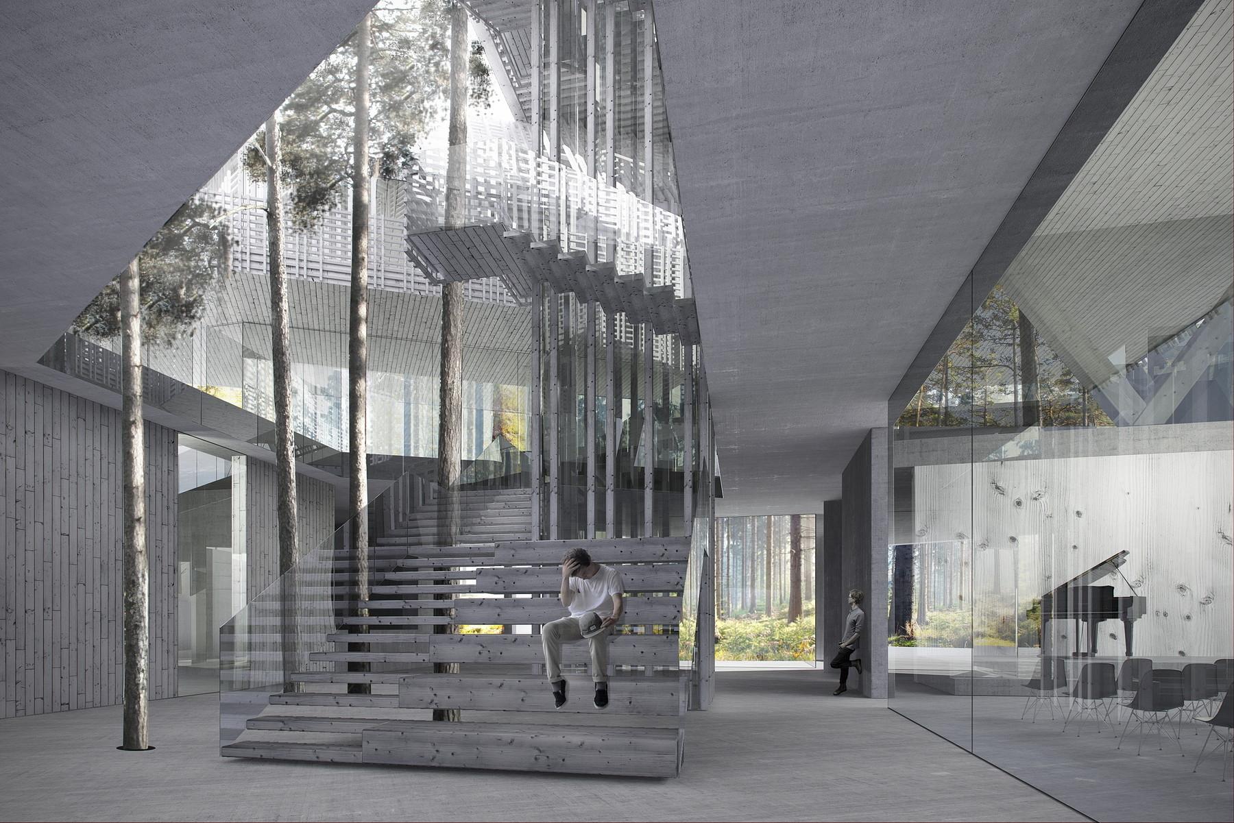 Ofis arhitekti designs cantilevered cultural space for for Ofis arhitekti